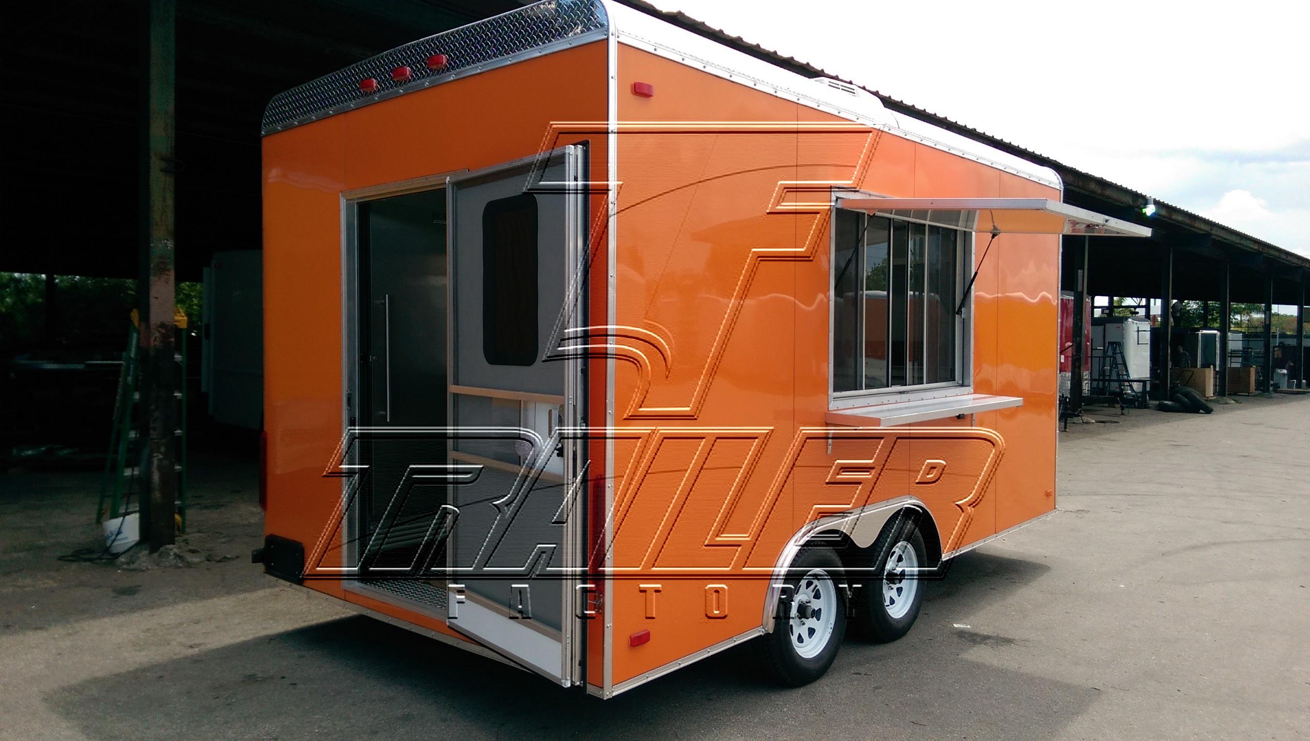 Orange 16ft concession trailer - rear view