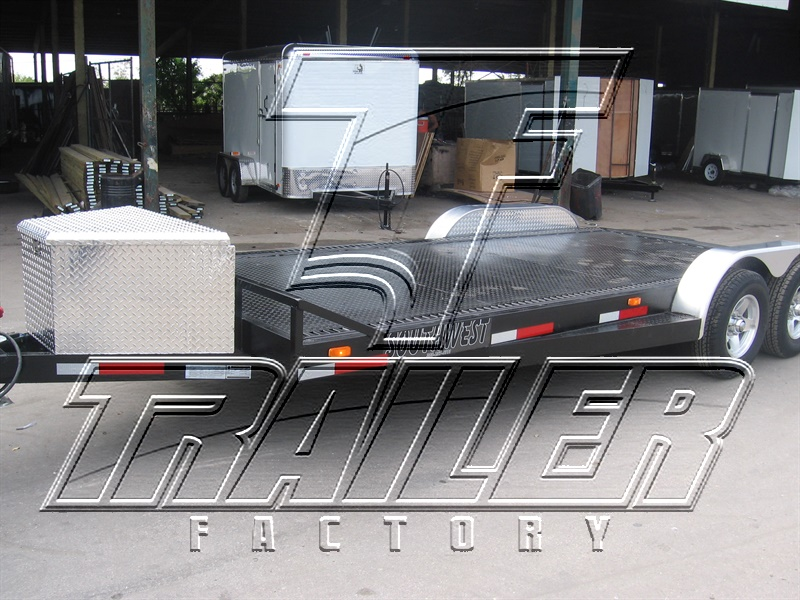 7x16 Open Steel Deck Car Hauler Trailer Factory