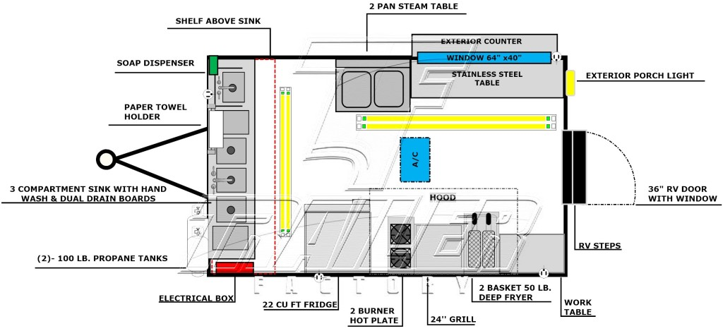 Concession trailer floorplan layout image - Package B