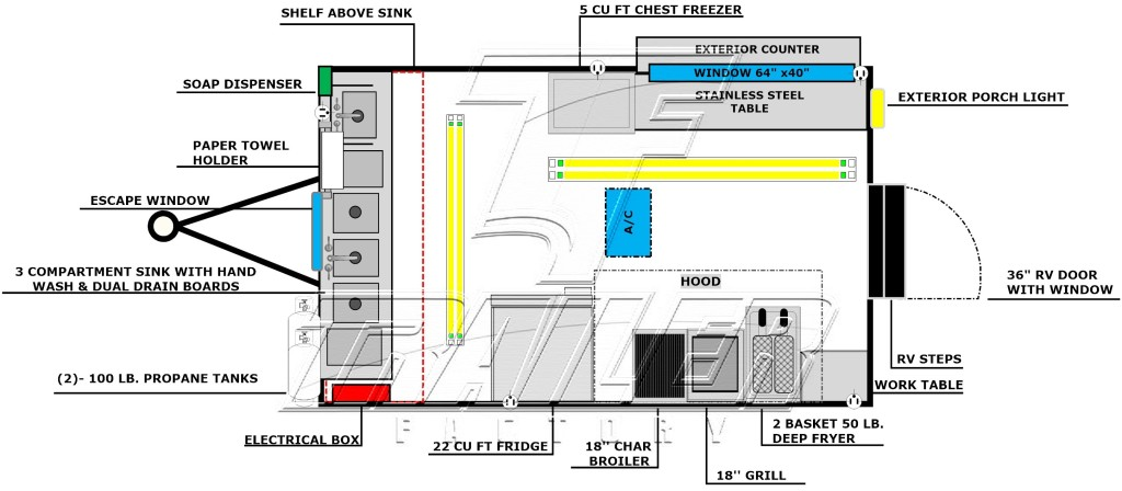 Concession trailer floorplan layout image - Package C