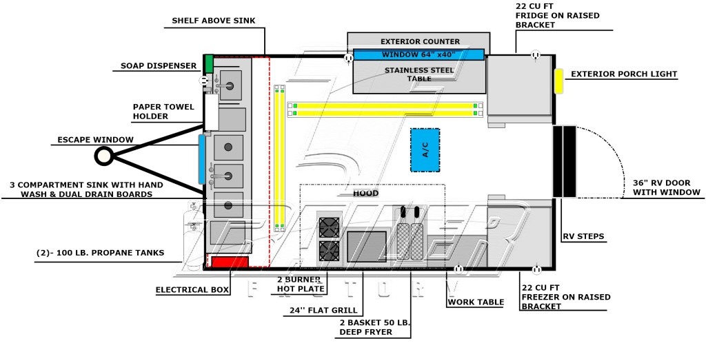 Concession trailer floorplan layout image - Package D