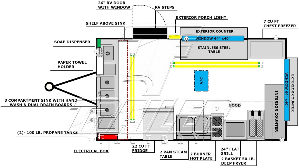 image of a custom 16ft concession trailer floorplan layout