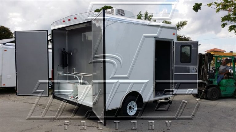 Trailer made specifically for mobile dog grooming business.